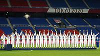 YOKOHAMA, JAPAN - AUGUST 6: Team United States celebrates their bronze medal during the ceremony at International Stadium Yokohama on August 6, 2021 in Yokohama, Japan.
