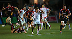 Ulster replacement Ian Porter causes problems for the Dragons defence as he bursts through a gap.<br /> RaboDirect Pro 12<br /> Newport Gwent Dragons v Ulster<br /> Rodney Parade<br /> 06.09.13<br /> <br /> ©Steve Pope-SPORTINGWALES