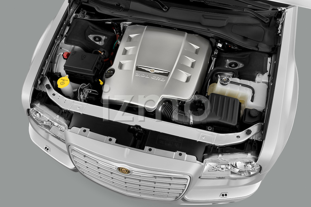 High angle engine detail of a 2009 Chrysler 300 CRD .