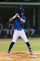 AZL Cubs 2 third baseman Luis Verdugo (18) at bat during an Arizona League game against the AZL Indians 2 at Sloan Park on August 2, 2018 in Mesa, Arizona. The AZL Indians 2 defeated the AZL Cubs 2 by a score of 9-8. (Zachary Lucy/Four Seam Images)