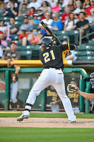 Alfredo Marte (21) of the Salt Lake Bees at bat against the Las Vegas 51s in Pacific Coast League action at Smith's Ballpark on June 25, 2015 in Salt Lake City, Utah. Las Vegas defeated Salt Lake 20-8. (Stephen Smith/Four Seam Images)
