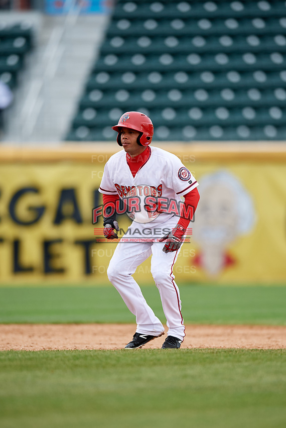 Harrisburg Senators designated hitter Yadiel Hernandez (12) leads off during the first game of a doubleheader against the New Hampshire Fisher Cats on May 13, 2018 at FNB Field in Harrisburg, Pennsylvania.  New Hampshire defeated Harrisburg 6-1.  (Mike Janes/Four Seam Images)
