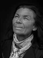 Portrait made using ultraviolet light of VII photographer Maggie Steber.