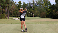 CHAPEL HILL, NC - OCTOBER 13: Pauline Roussin-Bouchard of the University of South Carolina tees off at UNC Finley Golf Course on October 13, 2019 in Chapel Hill, North Carolina.