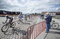 Adrien Niyonshuti (RWA/Team Dimension Data) leading the bunch over the cobbles<br /> <br /> 102nd Kampioenschap van Vlaanderen 2017 (UCI 1.1)<br /> Koolskamp - Koolskamp (192km)