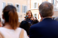 The Italian leader of the Fratelli d'Italia party Giorgia Meloni during demonstration of labour consultants against the Government in Montecitorio Square. Rome (Italy), July 29th 2020<br /> Photo Samantha Zucchi Insidefoto