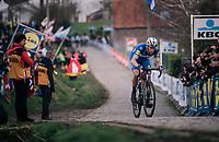Niki Terpstra (NED/Quick-Step Floors) leading the race over the last ascent of the Paterberg<br /> <br /> 102nd Ronde van Vlaanderen 2018 (1.UWT)<br /> Antwerpen - Oudenaarde (BEL): 265km