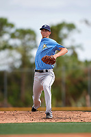 Tampa Bay Rays pitcher Michael Mercado (16) warms up on a side field to get ready to pitch during an Instructional League game against the Pittsburgh Pirates on October 3, 2017 at Pirate City in Bradenton, Florida.  (Mike Janes/Four Seam Images)