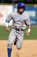 Peoria Chiefs outfielder Anthony Giansanti (9) during a game vs. the Kane County Cougars at Elfstrom Stadium in Geneva, Illinois August 15, 2010.   Peoria defeated Kane County 8-4.  Photo By Mike Janes/Four Seam Images