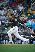 Pittsburgh Pirates catcher Elias Diaz (32) at bat during a Spring Training game against the Toronto Blue Jays  on March 3, 2016 at McKechnie Field in Bradenton, Florida.  Toronto defeated Pittsburgh 10-8.  (Mike Janes/Four Seam Images)