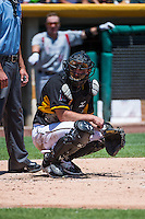 Charlie Cutler (37) of the Salt Lake Bees on defense against the Albuquerque Isotopes in Pacific Coast League action at Smith's Ballpark on June 28, 2015 in Salt Lake City, Utah. The Isotopes defeated the Bees 8-3. (Stephen Smith/Four Seam Images)