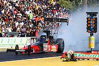 Aug. 4, 2013; Kent, WA, USA: NHRA top fuel dragster driver David Grubnic during the Northwest Nationals at Pacific Raceways. Mandatory Credit: Mark J. Rebilas-USA TODAY Sports
