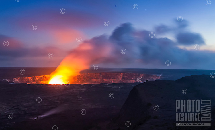 A steamy glow from lava at Halema'uma'u Crater at sunset, Hawai'i Volcanoes National Park, Big Island.