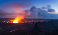 A steamy glow from lava at Halema'uma'u Crater at sunset, Hawai'i Volcanoes National Park, Big Island.