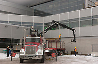 contruction of a new section at Trudeau-Montreal International Airport (YUL) formely known as Dorval Airport.<br /> <br /> Construction de la nouvelle jetee de l'Aeroport Pierre Trudeau - Montreal <br /> <br /> photo : (c)  Images Distribution<br /> <br /> The new international jetty construction site at MontrŽal-<br /> Pierre Elliott Trudeau International Airport (YUL) in February 2004.<br /> <br /> Contruction de la nouvelle jetŽe de l'aŽroport Pierre E Trudeau (YUL) FŽvrier 2004<br /> photo : (c) images Distribution