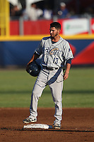 Mitch Morales (13) of the Tri-City Dust Devils stands at second base during a game against the Vancouver Canadians at Nat Bailey Stadium on July 23, 2015 in Vancouver, British Columbia. Tri-City defeated Vancouver, 6-4. (Larry Goren/Four Seam Images)
