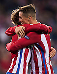 Antoine Griezmann of Atletico de Madrid celebrates with teammate Fernando Torres during their 2016-17 UEFA Champions League match between Atletico Madrid and FC Rostov at the Vicente Calderon Stadium on 01 November 2016 in Madrid, Spain. Photo by Diego Gonzalez Souto / Power Sport Images