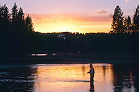 Fly fishing on the Yellowstone River<br />   near Buffalo Crossing<br /> Yelowstone National Park<br /> Rocky Mountains,  Wyoming