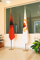 At the entrance to the winery, the Albanian flag and the flag of the winery. Kantina e Pijeve Gjergj Kastrioti Skenderbeu Skanderbeg winery, Durres. Albania, Balkan, Europe.