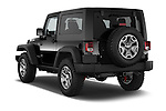 Car pictures of rear three quarter view of a 2014 Jeep Wrangler Rubicon 5 Door SUV angular rear