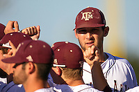 Texas A&M Aggie pitcher Michael Wacha #38 with his teammates prior the NCAA Regional baseball game against the Dayton Flyers on June 1, 2012 at Blue Bell Park in College Station, Texas. The Aggies defeated the Flyers 4-1. (Andrew Woolley/Four Seam Images).
