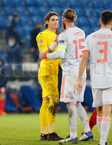14th November 2020; St.Jakob Park, Basel, Switzerland; Nations League International Football, Switzerland versus Spain; Goalie Yann Sommer SUI is congratulated by Sergio RamSpain after the game