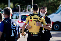 Wout Van Aert (BEL/Jumbo-Visma) hugged by DS Frans Maassen after winning the stage<br /> <br /> Stage 5 from Gap to Privas (183km)<br /> <br /> 107th Tour de France 2020 (2.UWT)<br /> (the 'postponed edition' held in september)<br /> <br /> ©kramon