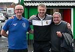 Glentoran v St Johnstone…. 09.07.16  The Oval, Belfast  Pre-Season Friendly<br />Saints fans Grant Mitchell (left) and Hamish MacGregor pictured with former saintee Alan Kernaghan who is now manager of Glentoran<br />Picture by Graeme Hart.<br />Copyright Perthshire Picture Agency<br />Tel: 01738 623350  Mobile: 07990 594431