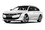 Stock pictures of low aggressive front three quarter view of a 2019 Peugeot 508 First Edition 5 Door Wagon