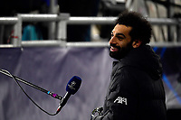 16th February 2021, Puskas Arena, Budapest, Hungary; Champions League football, FC Leipig versus Liverpool FC;  Mohamed Salah of Liverpool is interviewed at the end of the game