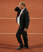 US Secret Service patrol the ground at Royal Bafokeng Stadium due to the visit of former United States President Bill Clinton. Ghana defeated the USA 2-1 in overtime in the 2010 FIFA World Cup at Royal Bafokeng Stadium in Rustenburg, South Africa on June 26, 2010.
