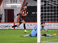 12th January 2021; Vitality Stadium, Bournemouth, Dorset, England; English Football League Championship Football, Bournemouth Athletic versus Millwall; Dominic Solanke of Bournemouth celebrates scoring in the 40th minute 1-0
