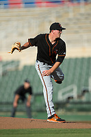Delmarva Shorebirds starting pitcher Alex Wells (31) follows through on his delivery against the Kannapolis Intimidators at Kannapolis Intimidators Stadium on June 30, 2017 in Kannapolis, North Carolina.  The Shorebirds defeated the Intimidators 6-4.  (Brian Westerholt/Four Seam Images)