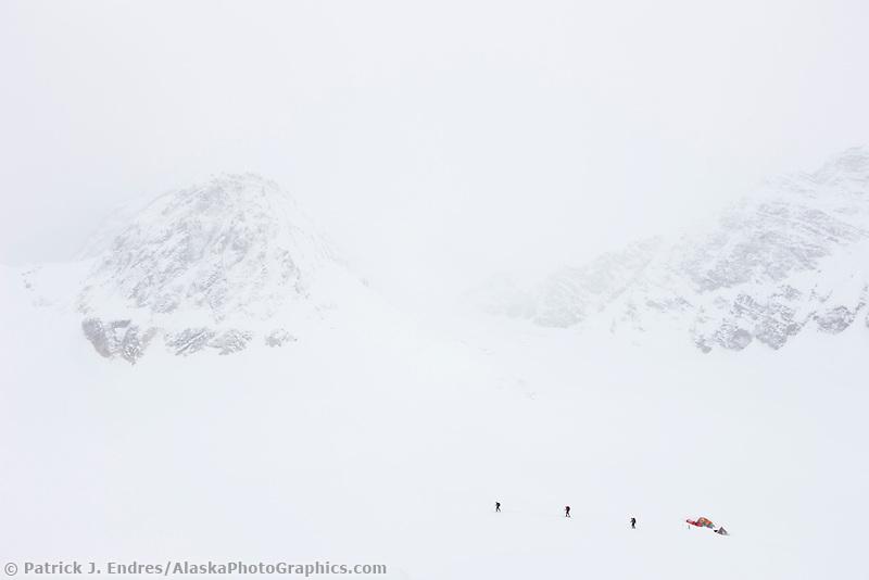 Mountaineering on back country skis on the ruth glacier, Alaska Range mountains, Alaska.
