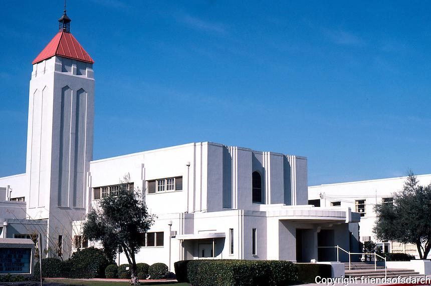 Los Angeles: San Gabriel Union Church & School, Las Tunas Drive & Pine, San Gabriel, 1936. Anonymous--Classical PWA Moderne.