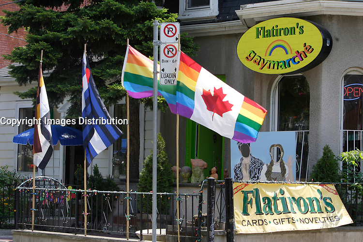 Flatiron store, near Church Street in The   Village ;  a predominantly gay neighbourhood in the heart of downtown Toronto.<br /> <br /> <br /> <br /> Home to Canada's largest gay community, Toronto welcomes gay and lesbian visitors with a full slate of entertaining things to see and do year-round. While Toronto is home to more than 4 million people, the gay and lesbian village is nestled in the downtown core, centered around the intersection of Church and Wellesley Streets. The area is packed with cafés, restaurants, gay-oriented shops and a vast array of bars and hot nightspots.<br /> <br /> Photo : Pierre Roussel - Images Distribution
