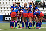 GER - Mannheim, Germany, October 09: During the women hockey match between Mannheimer HC (blue) and Ruesselsheimer RK (red) on October 9, 2016 at Mannheimer HC in Mannheim, Germany. Final score 6-0 (HT 1-0). (Photo by Dirk Markgraf / www.265-images.com) *** Local caption ***
