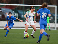 Lenie Onzia (8) of OHL in action during a female soccer game between Oud Heverlee Leuven and Racing Genk on the 14 th matchday of the 2020 - 2021 season of Belgian Womens Super League , sunday 28 th of February 2021  in Heverlee , Belgium . PHOTO SPORTPIX.BE | SPP | SEVIL OKTEM