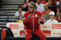 Minora Ueda, Japan Coach, MARCH 05, 2016 - Tennis : Minora Ueda, Japan Coach shows emotion during the Davis Cup by PNB Paribas , World Group first round doubles match between Great Britain and Japan at The Barclaycard Arena, Birmingham, United Kingdom. (Photo by Rob Munro/AFLO)
