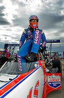 Oct. 31, 2008; Las Vegas, NV, USA: NHRA top fuel dragster driver Morgan Lucas during qualifying for the Las Vegas Nationals at The Strip in Las Vegas. Mandatory Credit: Mark J. Rebilas-