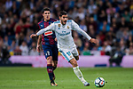 Theo Hernandez (r) of Real Madrid competes for the ball with Ander Capa Rodriguez of SD Eibar during the La Liga 2017-18 match between Real Madrid and SD Eibar at Estadio Santiago Bernabeu on 22 October 2017 in Madrid, Spain. Photo by Diego Gonzalez / Power Sport Images