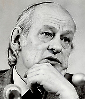 1980 FILE PHOTO - ARCHIVES -<br /> <br /> Quebec Premier Rene Levesque was by turns sincere, charming, sarcastic, intense and - always - his caricatured self during an address to the Empire and Canadian clubs.<br /> <br /> PHOTO : Ron BULL - Toronto Star Archives - AQP