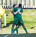 Stirling's Chris Geddes celebrates with Stirling's Jeff Kessie  (7) after he scores their first goal.