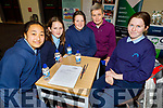 Glenbeigh NS taking part in the Cara Credit Union School Quiz in the I T Tralee on Sunday. L to r: Alyssa Finn, Maggie Quirke, Mary Kate Smith, Mary Jo Curran (Teacher)  and Maolíosa Scales.