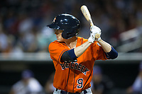 Johnny Sewald (9) of the Buies Creek Astros at bat against the Winston-Salem Dash at BB&T Ballpark on April 13, 2017 in Winston-Salem, North Carolina.  The Dash defeated the Astros 7-1.  (Brian Westerholt/Four Seam Images)