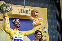 Fernando Gaviria (COL/Quick Step Floors) wins the sprint of the first stage and takes the Yellow Jersey.<br /> <br /> Stage 1: Noirmoutier-en-l'Île > Fontenay-le-Comte (189km)<br /> <br /> Le Grand Départ 2018<br /> 105th Tour de France 2018<br /> ©kramon