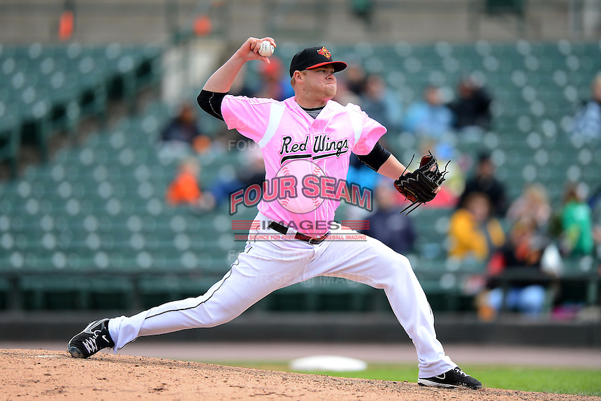 Rochester Red Wings pitcher Daniel Turpen #53 during a game against the Columbus Clippers on May 12, 2013 at Frontier Field in Rochester, New York.  Rochester defeated Columbus 5-4 wearing special pink jerseys for Mother's Day.  (Mike Janes/Four Seam Images)