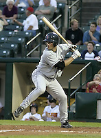 May 14, 2004:  Matt Erickson of the Indianapolis Indians, Triple-A International League affiliate of the Milwaukee Brewers, during a game at Frontier Field in Rochester, NY.  Photo by:  Mike Janes/Four Seam Images