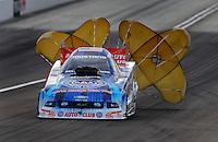 Nov. 1, 2008; Las Vegas, NV, USA: NHRA funny car driver Robert Hight slows down following his run during qualifying for the Las Vegas Nationals at The Strip in Las Vegas. Mandatory Credit: Mark J. Rebilas-