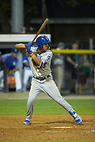 Mark Vientos (13) of the Kingsport Mets at bat against the Burlington Royals at Burlington Athletic Stadium on July 27, 2018 in Burlington, North Carolina. The Mets defeated the Royals 8-0.  (Brian Westerholt/Four Seam Images)